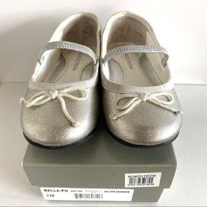 Nordstrom Girl's Bella-Pu Silver Shimmer Shoes